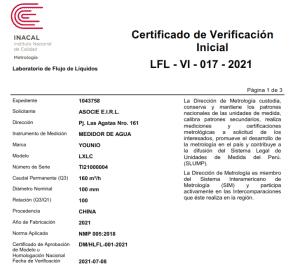 Certificado verificacion inicial medidor de agua